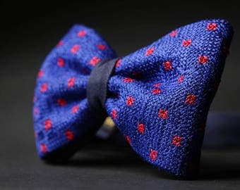 Blue Bow Tie for Men Cross Stitched