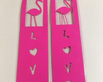 Hot Pink Flamingo LOVE Bookmark
