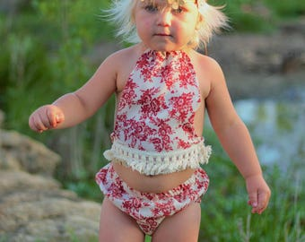 NEW! Idyllwilde Collection, 2pc Halter Crop Top and Bloomer Set, Girls Crop Top, Crochet Tassel Trim Top, Baby Halter Top, Boho Baby Top