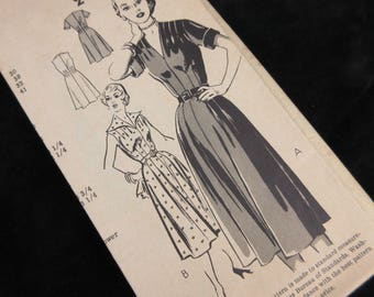 Vintage 1940s Sewing Pattern, Dress, Mail Order