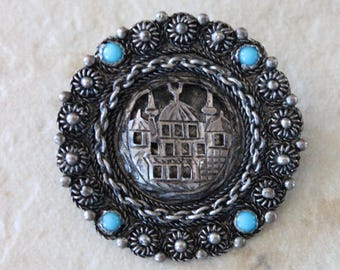 Vintage KETE 900 Sterling Silver Brooch Pin with Turquoise Stones