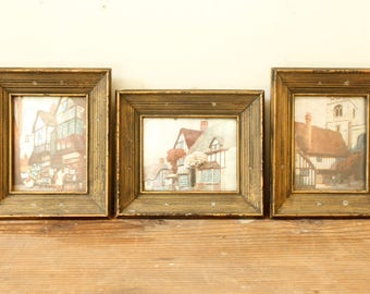 Vintage Wall Art Framed Metallic Foil Art Prints Buildings Architecture Cottages