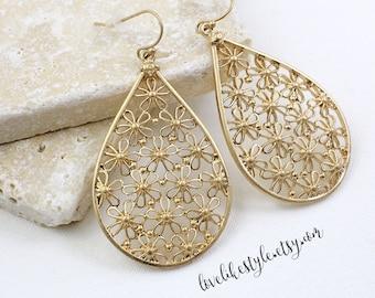 Gold Flower Filled Tear Drop Earrings, Gold Tear Drop Earrings, Bridesmaid Earrings, Bridal Shower Gift- 2044