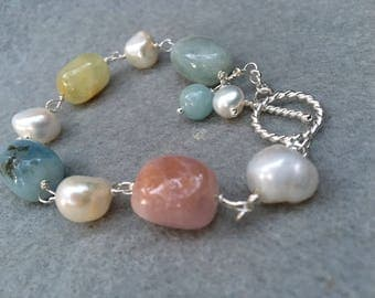 Morganite and pearl bracelet  sterling silver wire wrapped  beryl bracelet