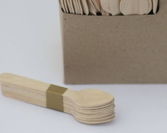Wooden Spoons, 50 Disposable Wooden Spoons