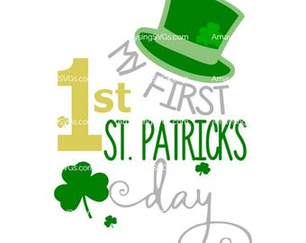 SVG - My First St Patrick's Day - St Patricks Day Baby svg - 1st St Patricks Day svg - 1st St Pattys Day - Baby Shirt svg - Shamrock svg