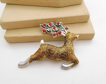 Vintage Gold Glittered Enamel Red Rhinestone Reindeer Christmas Brooch Pin RR28