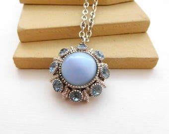 Vintage Avon Moon Magic Blue Moonglow Rhinestone Silver Pendant Necklace E32