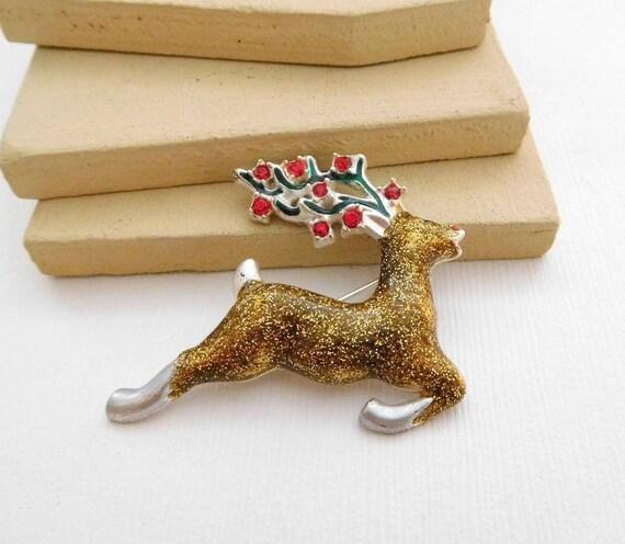 Vintage Gold Glittered Enamel Red Rhinestone Reindeer Christmas Brooch Pin RR28