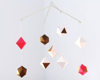 multi-layered geometric mobile - baby mobile - nursery mobile - pink and gold