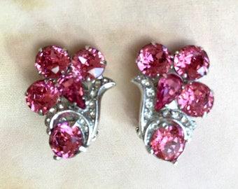 Stunning 1950's Pink Eisenberg Ice Rhinestone Earrings