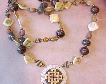 Pretty Vintage Bohemian Look Necklace in Earthy Browns and Mossy Greens