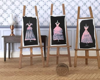 Doll house prom or bridesmaid dress  Set of 3 paintings Dolls House Miniature Painting DollHouse pink mini dress paintings