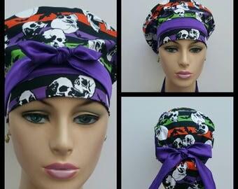 Handmade Woman Medical Scrub Hat - Fossilized Skulls - Stripes - 100 % cotton