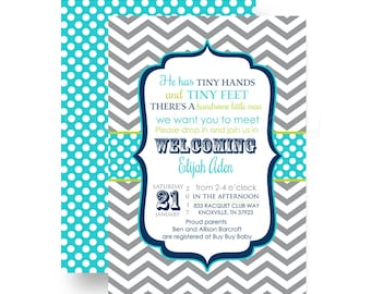 Boys Sip and See Baby Shower Invitation Grey Chevron & Aqua - Meet Baby Invite - Couples Party - Announcement - Custom Digital or Printing