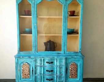 Turquoise and Cheetah distressed china hutch
