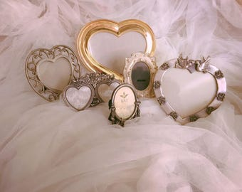 6 vintage silverplate pewter tone picture frames, collection vintage wedding silver picture frames, shabby chic frames