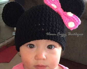 SUMMER SALE Baby Minnie Mouse Hat - Crochet Newborn NB Beanie Boy Girl Costume Preemie Halloween  Photo Prop Christmas Gift Winter Outfit