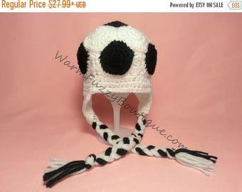 SUMMER SALE Baby Soccer Ball Earflaps Hat - Newborn Beanie Halloween  Costume Outfit Winter Cap