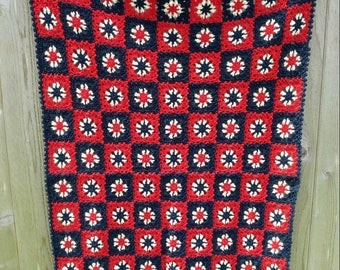 Sweet Handmade Vintage Red White & Navy Blue Small Crocheted Afghan Throw- Baby Blanket Patchwork Effect Floral Rosette Star Rustic Quaint