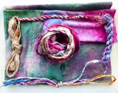 Hope Jacare Creative Textiles Hand dyed silk fabric, thread and recy. sari ribbon pack  - Small 04
