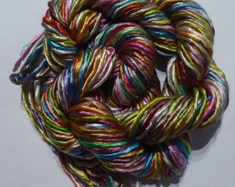 Large skein of hand dyed silk 60ply a great mix of 12 colours - threads 16