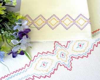 Mid Century Towels, Kitchen or Hand Towels with Swedish Weave or Huck Embroidery, Purple Red Blue,  Vintage Linens by TheSweetBasilShoppe