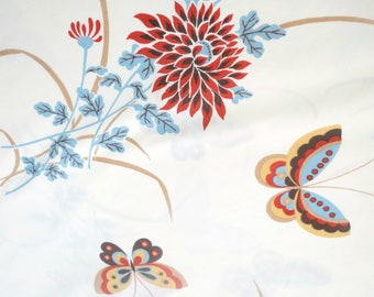 Vintage Full Size Flat Sheet by Monticello,  Butterflies and Mums,  No Iron Percale,  Cottage Bedding, Vintage Linens