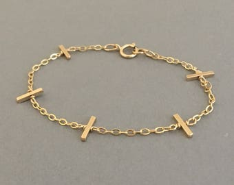 Five Bar BRACELET Available in Gold Fill, Rose Gold Fill, and Sterling Silver
