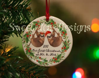 Sloth ornament, bridal ornament, newlywed ornament, engagement ornament, wedding ornament, wedding gift, gift for new couple, sloth lover