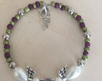Amethyst and Pearl Angel Beaded Memory Wire Bracelet