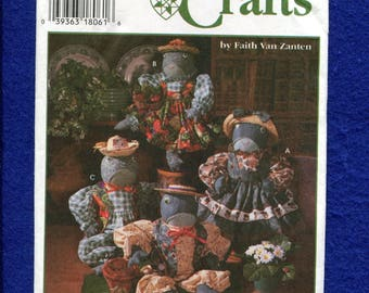 Simplicity 9584 Frog Stuffed Animals in Their Country Frocks UNCUT