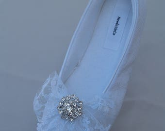 White Bridal Flats, Satin & lace and crystals Vegan Shoes trimmed with lace bow, pearls,Lace Ivory flats, Non Slip Slippers