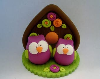 Whimsical Owls - Birdhouse - Polymer Clay - Autumn - Fall - Figurine