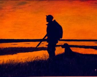 Hunter & Dog Silhouette Oil Painting Framed Signed P Drouin c1970's