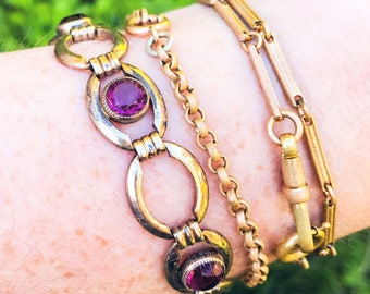 Free Shipping: Vintage 1950s Amethyst Glass Bracelet by Simmons