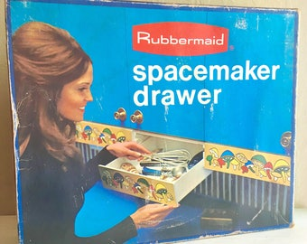 New Old Stock Vintage Rubbermaid Spacemaker Undermount Storage Drawer Complete in Original Box