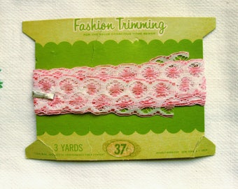 """Vintage Pink Lace Trim 1-3/8"""" wide, Scalloped Edge Lace 2 yards plus 18 inches"""