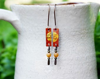 Orange Earrings, Mixed Media Earrings, Mixed Media Jewelry, Beaded Jewelry, Yellow Earrings, Orange Bead Earrings, Long Earrings, Bohemian