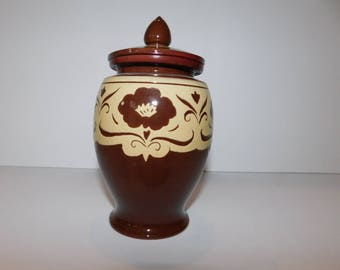 """Vintage Red Clay Covered Storage Jar - 7"""" - Brown & Yellow Vintage Storage Jar - Very Rare and Unique - 1930s Kitchen Colors"""