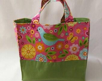 Large Nest Basket - Padded Organizer Pocket, Summer Song Birds