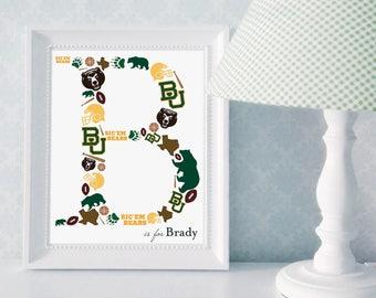 Monogram Print: Baylor University, Baylor Nursery Art, Baylor University Nursery Decor, College Nursery Decor, College Themed Monogram