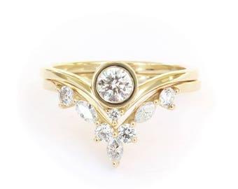Unique Natural Diamond Bridal Set, Engagement Ring and Matching V Ring Side Band, Bindi Round Diamond Ring & Marquise Diamonds Chevrone Ring