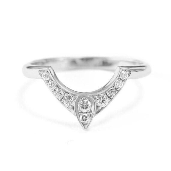 Third Eye Wedding Ring Diamond Pear Engagement Ring Gold