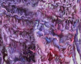 XMAS IN JULY up to 50%off Sale Hand Knit Scarf in Soft Handspun Purple Sparkle,  Luna Lovegood (Harry Potter),  Bulky Wool Purple mix and Sp
