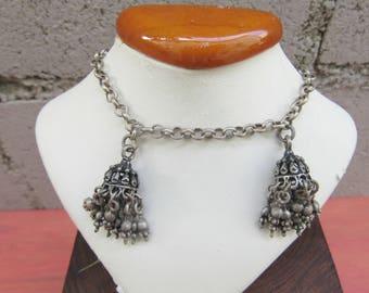 Vintage Tassel Bracelet Belly Dancing Bracelet Silver tone Ethnic Boho Tribal Jewelry