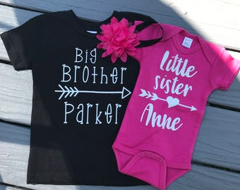 Personalized T-shirt and Bodysuit with Headband; Big Brother/Little Sister Sibling Outfit;Sibling Outfit with Girl Headband;Shower Gift