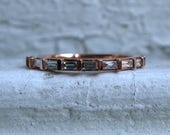 Baguette Diamond 14K Rose Gold Wedding Ring Band - 0.32ct.