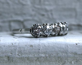 Fancy Antique Five Stone Platinum Diamond Ring Wedding Band -1.91ct.