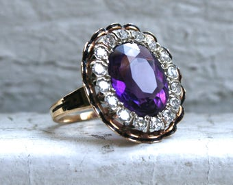 Outstanding Antique 14K Yellow Gold Amethyst Ring with Diamond Halo and Black Enamel Insets.